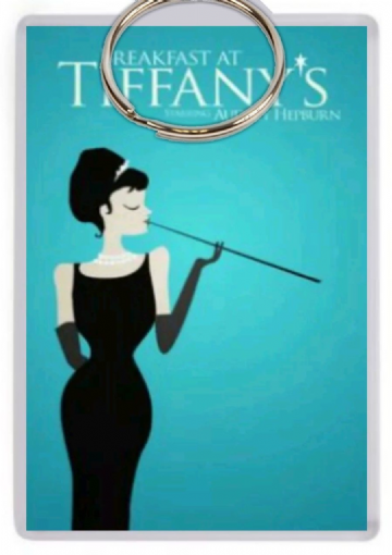 Breakfast At Tiffany's Jumbo Keyring. Minimalist Poster Art
